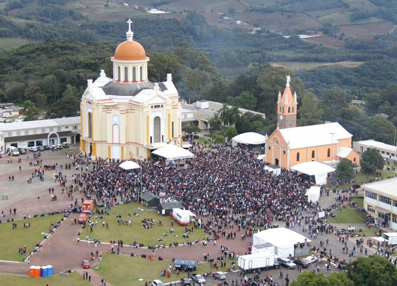Templo de Nossa Senhora de Caravaggio, em Farroupilha, recebe mais de um milhão de visitantes anuais