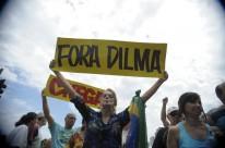 Na Praia de Copacabana, manifestantes fizeram ato defendendo o afastamento da presidente