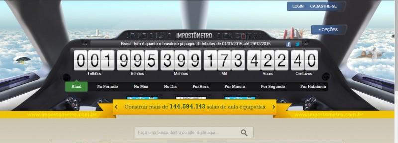 Nesta quarta-feira (30) o Impostômetro marcará R$ 2 trilhões