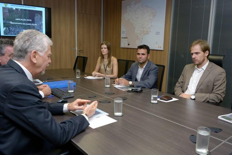 Prefeito José Fortunati em reunião com o ministro da Aviação Civil, Guilherme Ramalho, para concessão do Aeroporto Internacional Salgado Filho