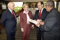 Governador  José Ivor Sartori com os senadores, Lasier Martins, Ana Amélia e Paulo Paim