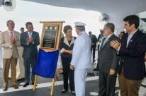 Dilma Rousseff durante cerimônia de apresentação do Navio Doca
