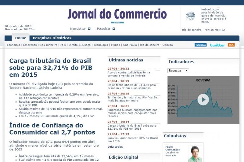 Edição on-line do Jornal, atualizado pela última vez na quinta-feira, também teve atividades encerradas