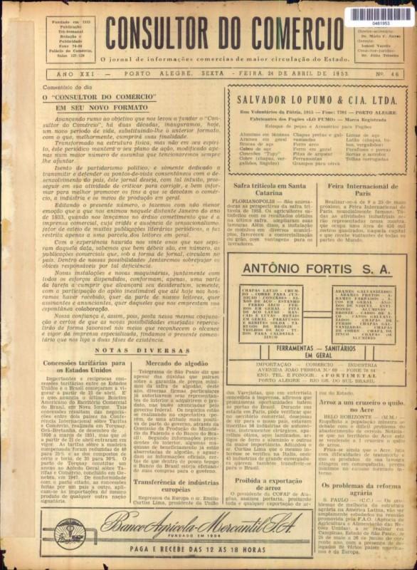 Jornal começou como Consultor do Comércio