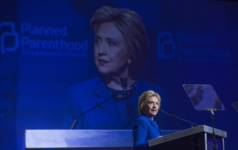 Hillary Clinton em discurso no Planned Parenthood Action Fund, em Washington/DC