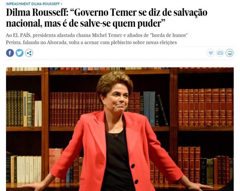 Dilma em entrevista ao jornal espanhol acenou mais uma vez com a possibilidade de realizar um plebiscito