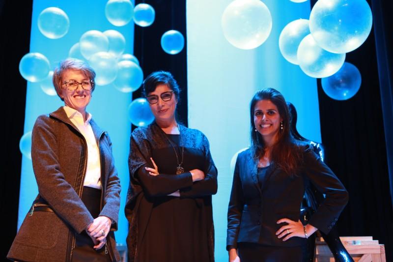 Taisa Bornhofen, diretora comercial da Posthaus.com, Andrea Bisker, cientista social e sócia da Sparkoff, e Ana Luiza Ferrão, diretora da Lojas Gang