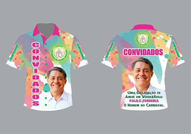Camiseta com foto de Paulo Ferreira foi vendida pela Academia de Samba Praiana no Carnaval de 2016
