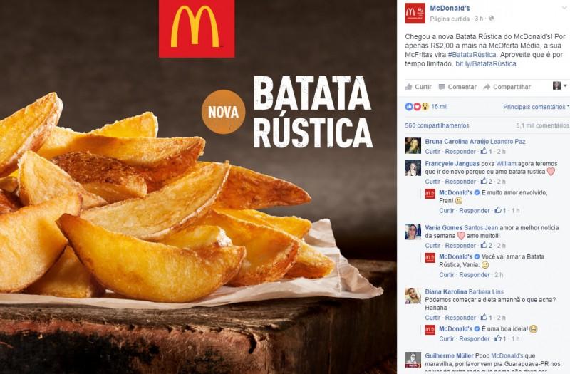 O McDonald's, divulgou nas redes sociais a variação rústica da tradicional batata frita