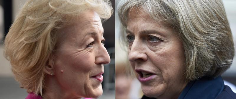 Secretária do Interior, Theresa May (d), conseguiu 199 votos, contra 84 de Andrea Leadson, ministra de Energia