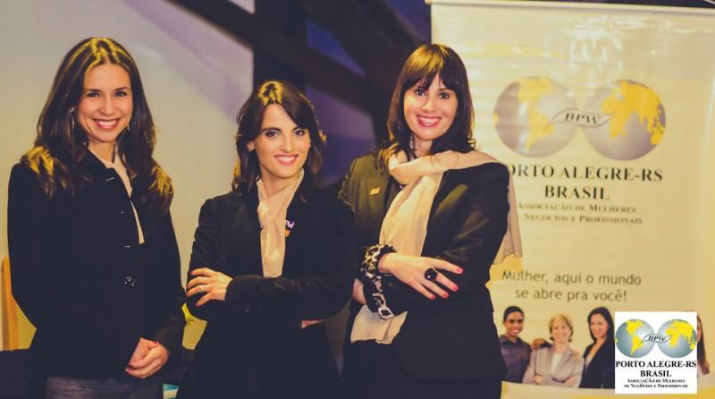 Mariana, primeira vice-presidente, Silvana, presidente, e Lessandra  segunda vice-presidente