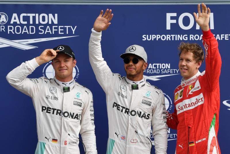 Esta foi a sétima pole de Hamilton (c) em 14 etapas no ano