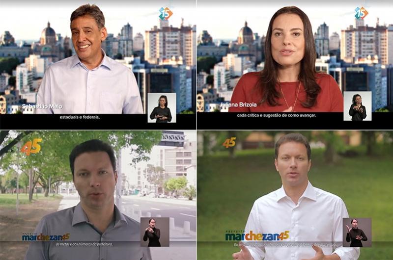 Melo e Juliana se revezaram no ar no programa da coligação Abraçando Porto Alegre; Marchezan apareceu sozinho no programa da coligação Porto Alegre Pra Frente