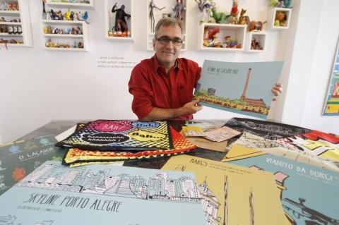Artista lança coleção que retrata Porto Alegre em pôsteres, postais e almofadas
