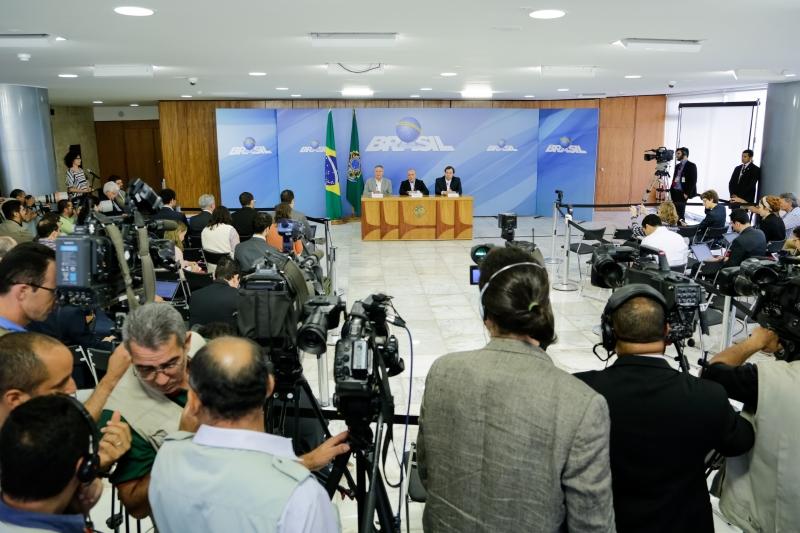 Michel Temer, Renan Calheiros e Rodrigo Maia, durante a entrevista