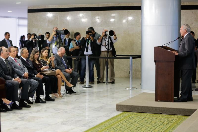 Presidente Michel Temer discursa durante lançamento do Programa de Renovação da Frota de Ônibus do Sistema de Transporte Público do Brasil