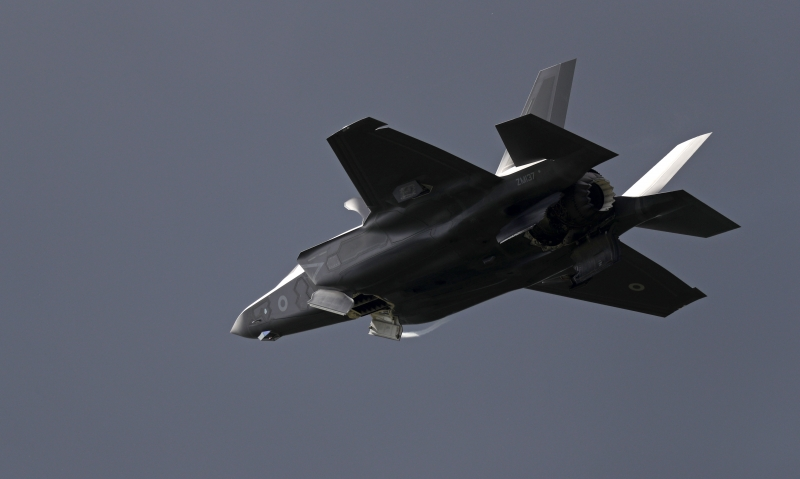 (FILES) This file photo taken on July 12, 2016 shows a Lockheed Martin F-35 Lightning II taking part in a flying display at the Farnborough Airshow, south west of London. 