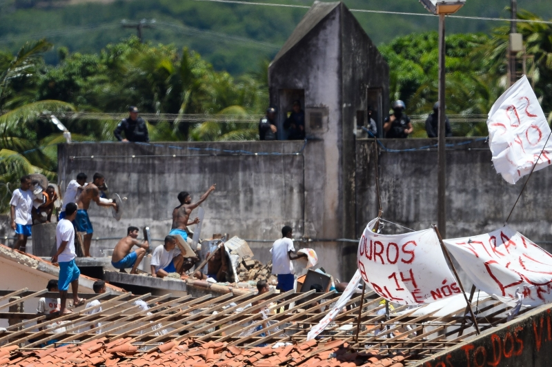 Inmates are seen during confrontation between gangs at Alcacuz Penitentiary Center near Natal in Rio Grande do Norte, Brazil on January 19, 2017.