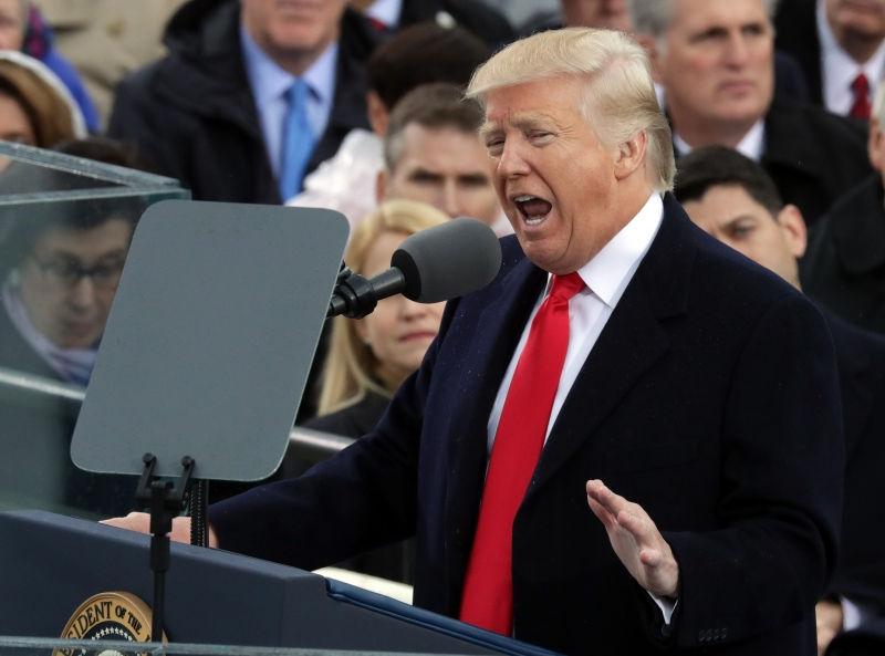 WASHINGTON, DC - JANUARY 20: U.S. President Donald Trump delivers his inaugural address on the West Front of the U.S. Capitol on January 20, 2017 in Washington, DC. In today's inauguration ceremony Donald J. Trump becomes the 45th president of the United States.   Chip Somodevilla/Getty Images/AFP == FOR NEWSPAPERS, INTERNET, TELCOS & TELEVISION USE ONLY ==       Caption