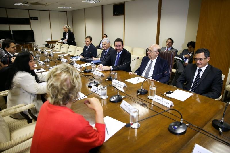 Ministro da Fazenda, Henrique Meirelles, recebeu dirigentes de federações estaduais em Brasília