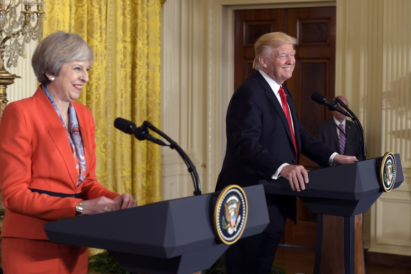 Britain's Prime Minister Theresa May speaks during a joint press conference with US President Donald Trump in the East Room of the White House on January 27, 2017 in Washington, DC. / AFP PHOTO / MANDEL NGAN