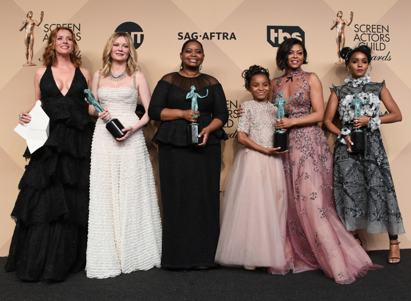 LOS ANGELES, CA - JANUARY 29: (L-R) Actors Kimberly Quinn, Kirsten Dunst, Octavia Spencer, Saniyya Sidney, Taraji P. Henson, and Janelle Monael, co-recipients of the Outstanding Performance by a Cast in a Motion Picture award for 'Hidden Figures,' pose in the press room during the 23rd Annual Screen Actors Guild Awards at The Shrine Expo Hall on January 29, 2017 in Los Angeles, California.   Alberto E. Rodriguez/Getty Images/AFP