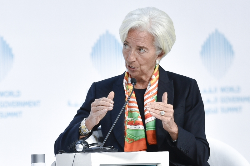 International Monetary Fund Managing Director Christine Lagarde speaks during an open discussion at the World Government Summit 2017, in Dubai's Madinat Jumeirah on February 12, 2017.  / AFP PHOTO / STRINGER