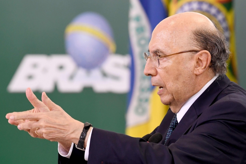 Brazilian Finance Minister Henrique Meirelles speaks during a ceremony to announce measures to make access to labour rights more flexible at Planalto Palace in Brasilia on February 14, 2017.