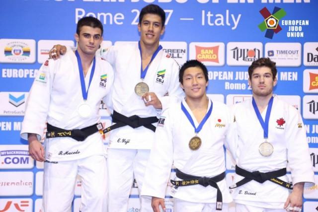 Eduardo Yudi Santos e Rafael Macedo garantiram ouro e prata no judô para Brasil em competição Aberto de Roma