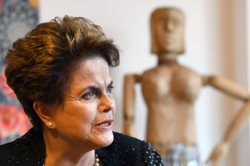 Former Brazilian President (2011-2016) Dilma Rousseff speaks with AFP during an interview in Brasilia on February 17, 2017. 