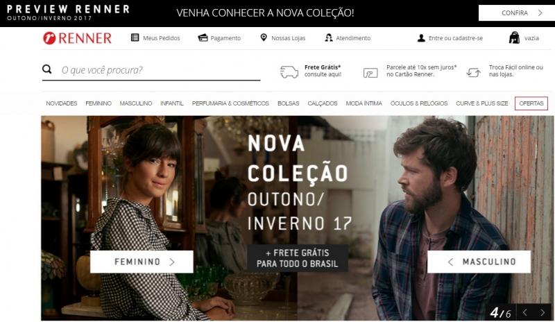 Site de e-commerce da Lojas Renner. Moda e acessórios lideram gastos de gaúchos na internet