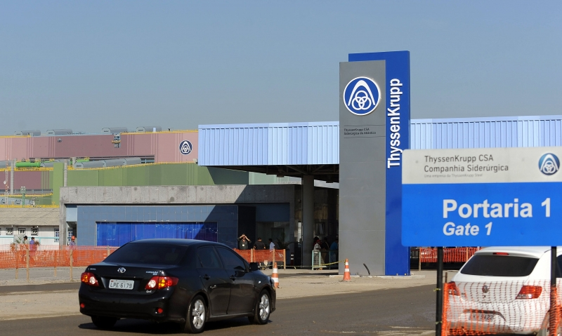 (FILES) This file photo taken on June 18, 2010 shows the entrance of the Germany's ThyssenKrupp CSA Siderurgica Do Atlantico plant, in the Santa Cruz neighbourhood, 60 km from downtown Rio de Janerio. 