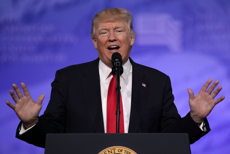 NATIONAL HARBOR, MD - FEBRUARY 24: U.S. President Donald Trump addresses the Conservative Political Action Conference at the Gaylord National Resort and Convention Center February 24, 2017 in National Harbor, Maryland. Hosted by the American Conservative Union, CPAC is an annual gathering of right wing politicians, commentators and their supporters.   Alex Wong/Getty Images/AFP