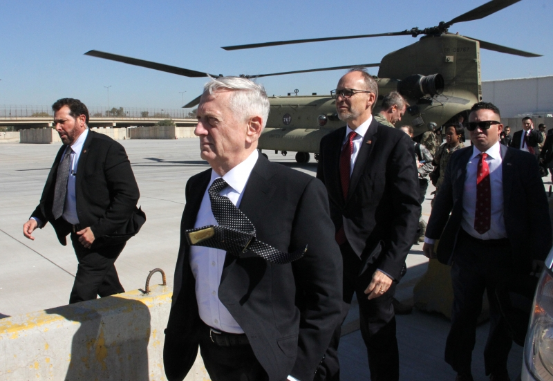 The new Pentagon chief and US Secretary of Defence, James Mattis (C), arrives in the Iraqi capital Baghdad, on February 20, 2017.