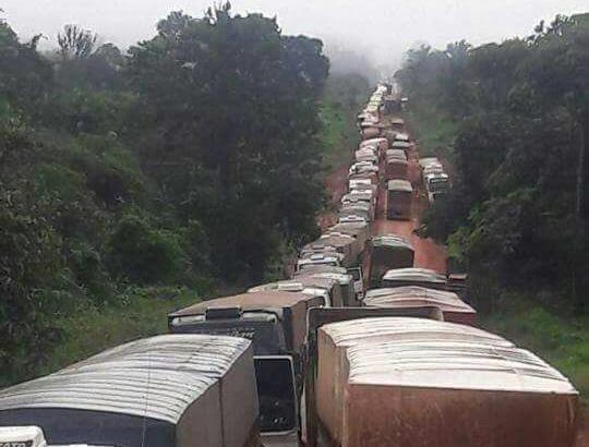 Barro, chuva e fila de caminhões que se perde no horizonte da BR-163, no sudoeste do Pará