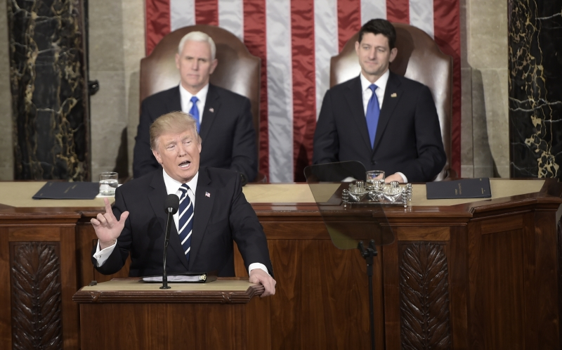 US President Donald Trump addresses a joint session of the US Congress on February 28, 2017, in Washington, DC. / AFP PHOTO / Brendan SMIALOWSKI