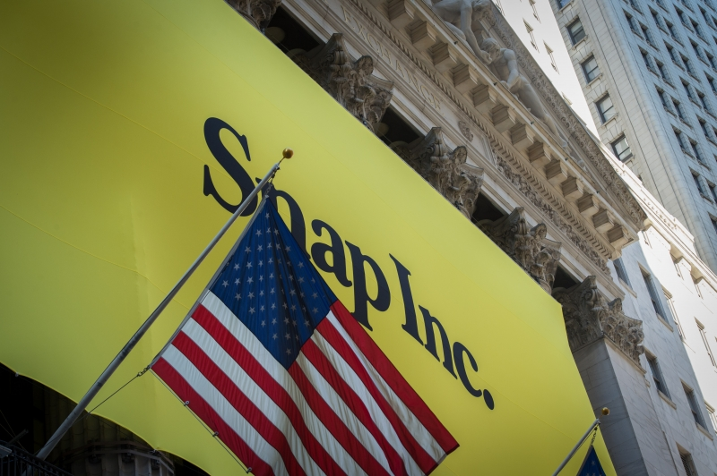 A banner for Snap Inc. IPO is seen outside at the New York Stock Exchange on March 2, 2017 in New York.