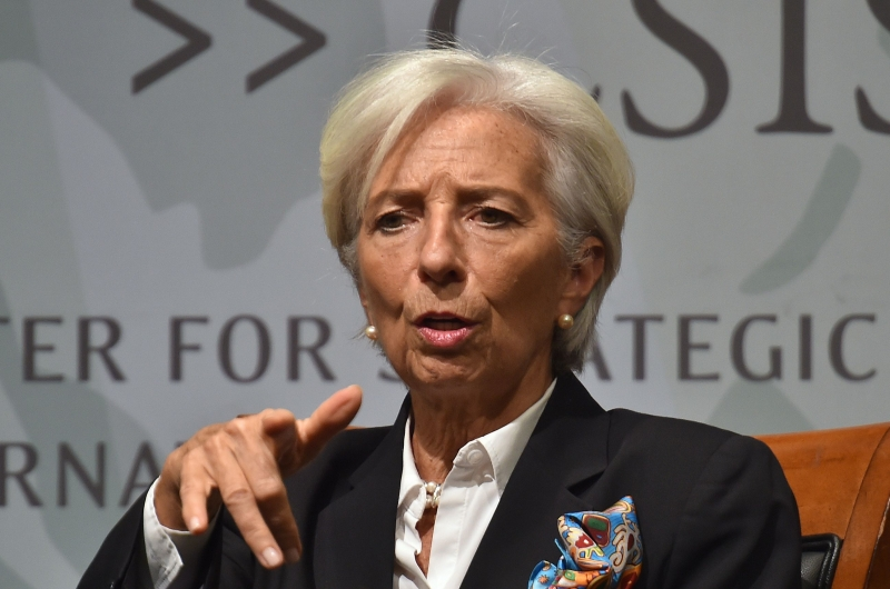 IMF Managing Director Christine Lagarde speaks during a discussion  about