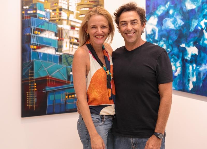 Angelita e Marcelo Hübner na abertura da exposição