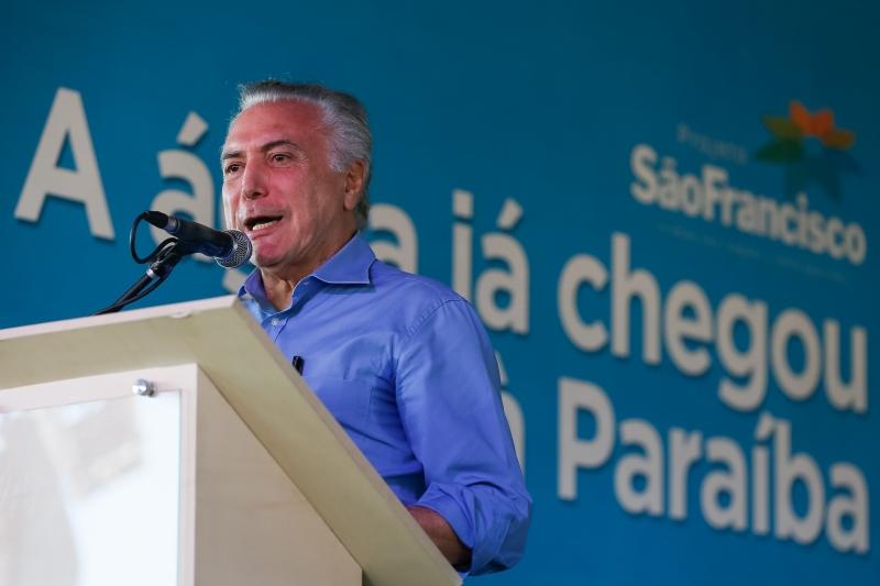 Presidente Michel Temer em, Monteiro, na Paraíba, na cerimônia de chegada das águas do Rio São Francisco à Paraíba