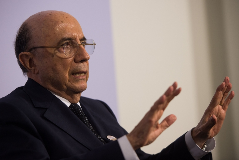 Brazilian Finance Minister Henrique Meirelles speaks at the G20 Finance Ministers and Central Bank Governors Meeting in Baden-Baden, southern Germany, on March 17, 2017. Finance ministers from the world's top nations gather in Germany on March 17, as fears grow of a looming trade war over US President Donald Trump's America First policy.
