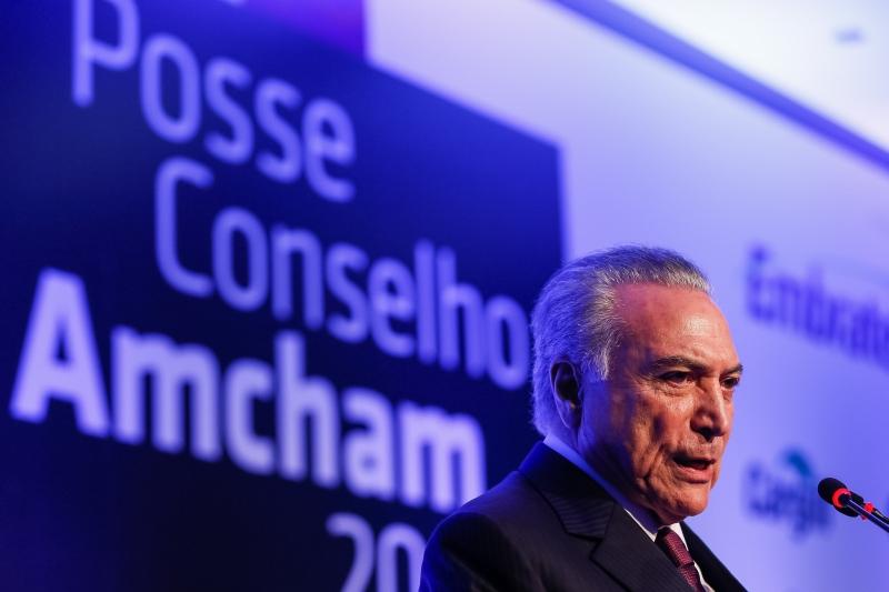 (São Paulo - SP, 20/03/2017) Cerimônia de Posse do Conselho de Administração da Amcham (American Chamber of Commerce for Brazil). Na foto discurso do Presidente Michel Temer. Foto: Beto Barata/PR