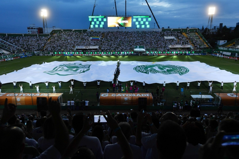 View of the Arena Conda stadium ahead of the Recopa Sudamericana 2017 football match between Colombia's Atletico Nacional and Brazil's Chapecoense, in Chapeco, Santa Catarina, southern Brazil, on April 4, 2017. / AFP PHOTO / NELSON ALMEIDA