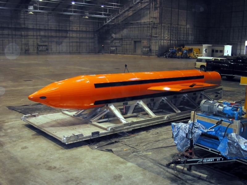 (FILES) Undated file image obtained April 14 , 2017 courtesy of the Department of Defense (DOD) shows the GBU-43/B Massive Ordnance Air Blast bomb prototype in an undisclosed location.