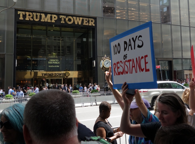 People march during the '100 Days of Failure' protest, marking the first 100 days of the administration of US President Donald Trump on April 29, 2017 in New York.