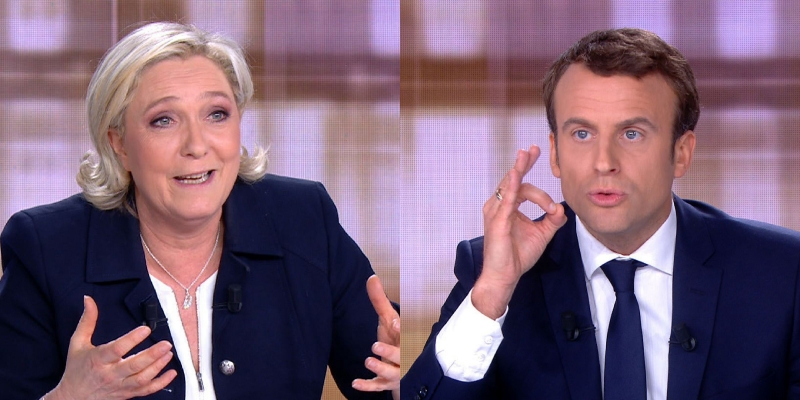 Le Pen e Macron trocaram acusações no debate do segundo turno