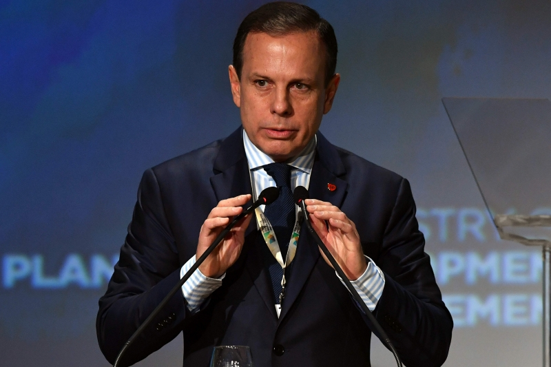 Sao Paulo's mayor João Doria prepares to speak during an Investment Forum in Sao Paulo, Brazil on May 30, 2017. / AFP PHOTO / NELSON ALMEIDA