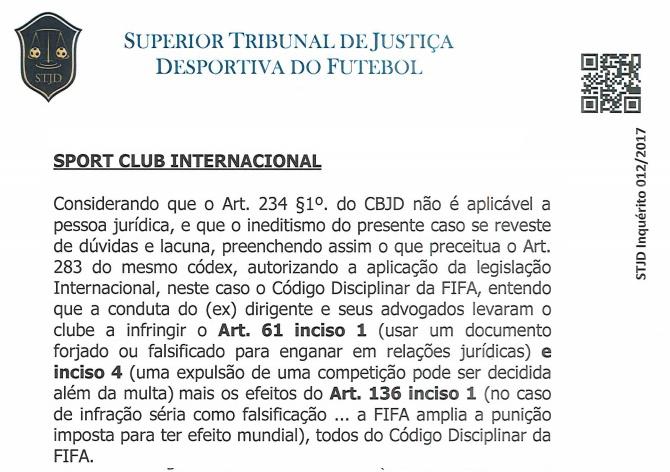 Trecho da decisão do relator do inquérito sobre falsificação de e-mails pelo Internacional no caso Victor Ramos - STJD