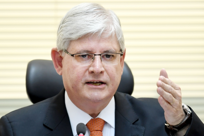 Brazil's  Prosecutor General Rodrigo Janot takes part in the opening of the Brazil-Japan Seminar on Fighting Corruption, in Brasilia, on June 19, 2017. 