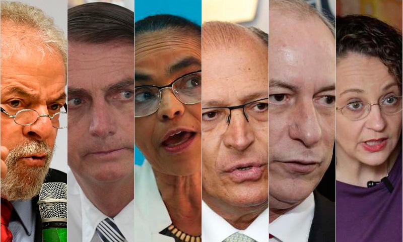 Montagem de intenção de voto pesquisa  Datafolha - junho - Lula, Bolsonaro, Marina, Alckmin, Ciro e Luciana - primeiro  turno de 2018 - eleições 2018